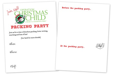 Operation Christmas Child invitation