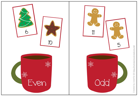 Christmas even and odd number sorting mat from www.homeschoolcreations.net