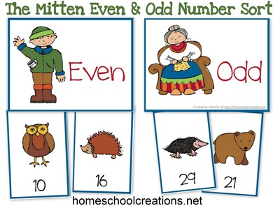 The Mitten by Jan Brett Number Sort Game
