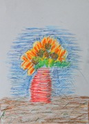 See the Light Sunflower Van Gogh project-Kaleb age 6