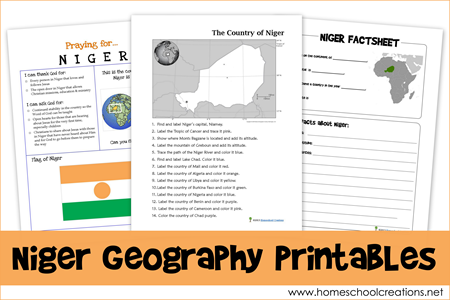 Niger Geography Pages via HomeschoolCreations