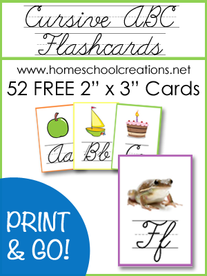 graphic relating to Printable Abc Flash Cards identified as Cursive ABC Flashcards and Posters - Totally free Printables