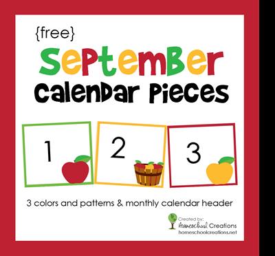 September Calendar Numbers free printable from Homeschool Creations