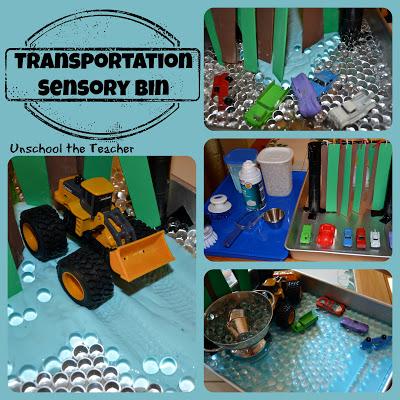 transportation sensory bins