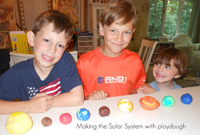 Making the solar system with playdough