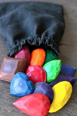 Recycled crayons into gems