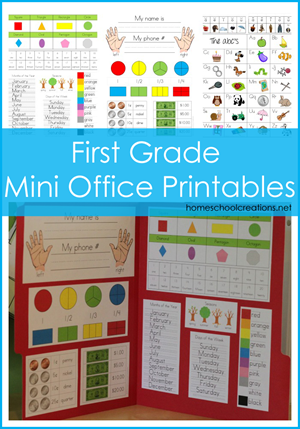 Homeschool Curriculum Help - First Grade Mini Office Printables