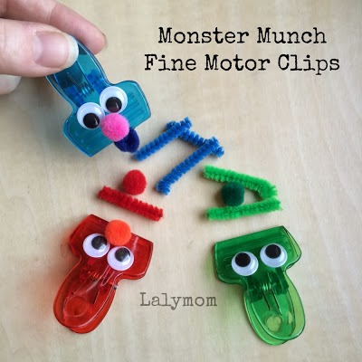 Homeschool Preschool - Monster Munch Fine Motor Chip Clips from Lalyom