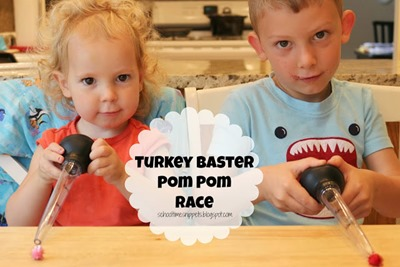Homeschool Preschool - Turkey Baster Pom Pom Race