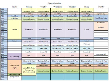 Homeschool Schedule 1