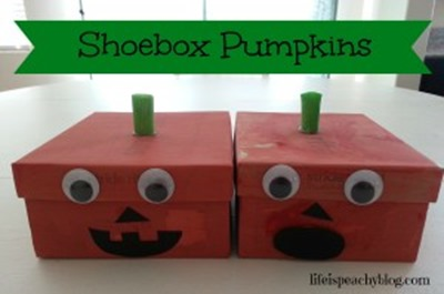 homeschool preschool - shoebox pumpkins