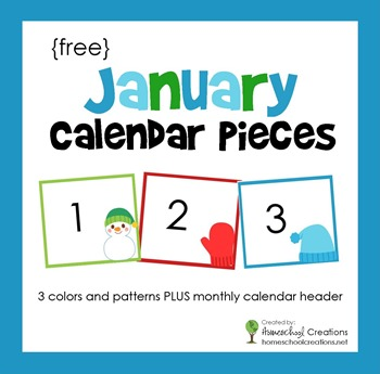 January Pocket Chart Calendar Pieces from Homeschool Creations