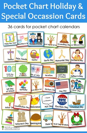 Pocket chart holiday and special occasion cards
