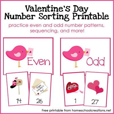 Valentine's Day Evan and Odd Number Sorting Printable