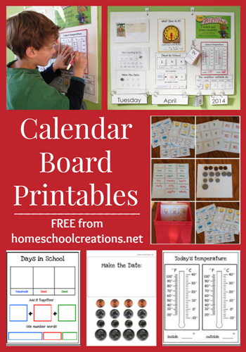 Calendar Board Printables from Homeschool Creations