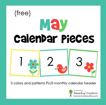 May pocket chart calendar pieces from homeschoolcreations.net