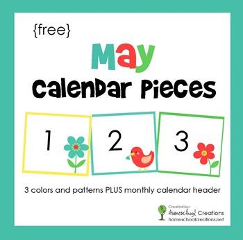 May pocket chart calendar pieces from homeschoolcreations.net
