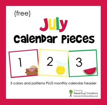 July pocket chart calendar pieces from homeschoolcreations.net