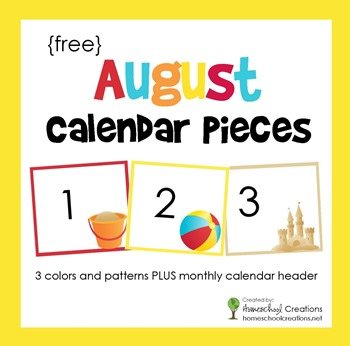 August pocket calendar pieces from homeschoolcreations.net