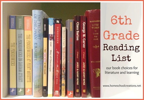 6th grade homeschool reading list