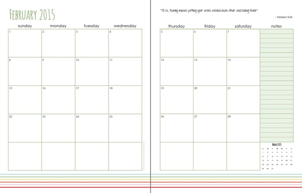 Daily Planning Pages printable - free download for February. Also link to the FULL 2015 Daily Planner - get organized this year.
