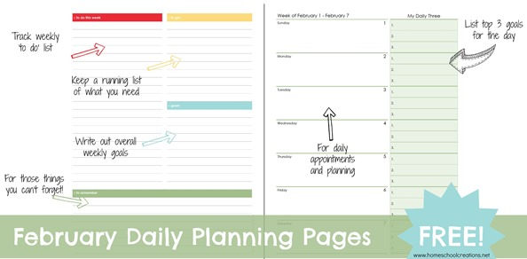 February Daily Planning Pages
