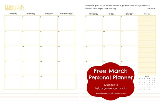 march 2015 personal planner pages