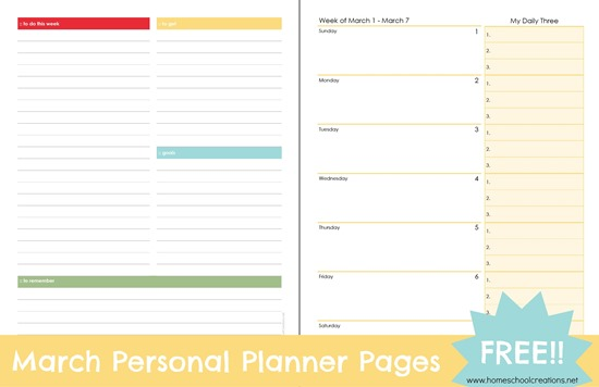 free printable march personal planner pages