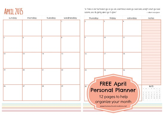 April personal planner pages