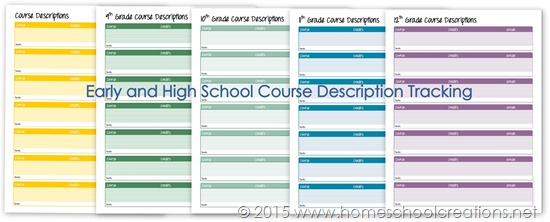Early and high school course description tracking