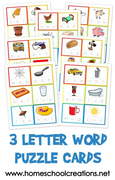 three letter words starting with x three letter word cards free printable 25277 | 3 Letter Word Puzzle Cards 382x600