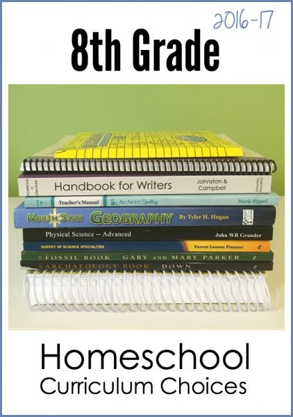 8th grade homeschool curriculum choices 2016