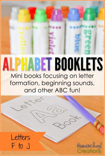 Alphabet booklets for preschool and kindergarten - letters F to J free printable