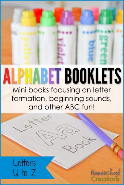 Mini alphabet booklets - letters U to Z printable from Homeschool Creations