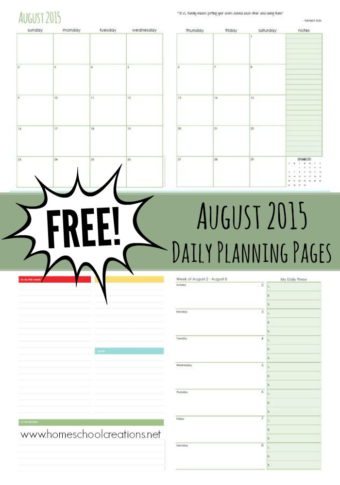 August 2015 Daily Planning Pages