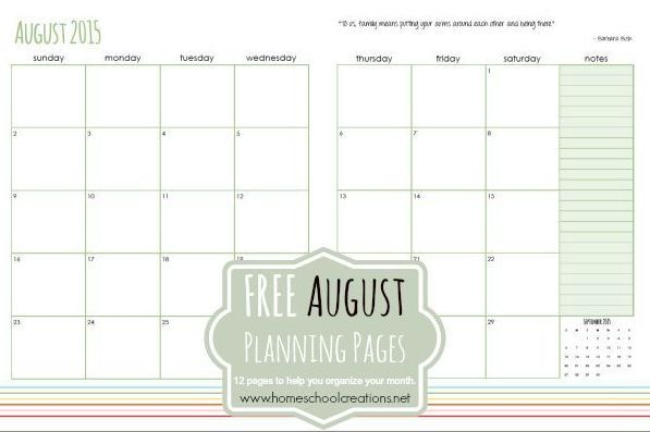 August 2015 Planning Pages at a Glance 2