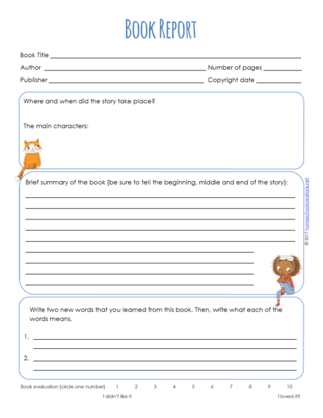 The Summary Area Is Varies A Bit On Each Form .  Printable Book Report Forms