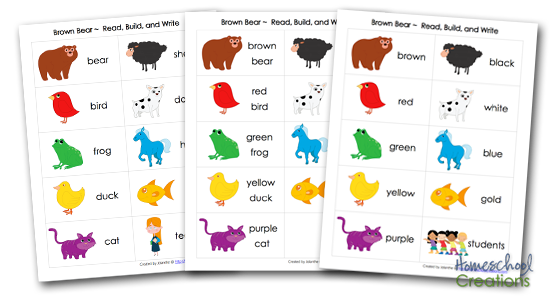 Brown Bear Brown Bear vocabulary word cards for Read Build Write Mats from Homeschool Creations