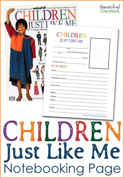 Children Just Like Me notebooking page