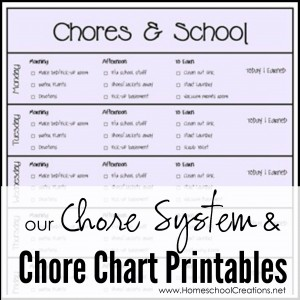 Chore system and chore chart printables - includes preschool grid and a look at how we pay out and divvy up chores - Homeschool Creations