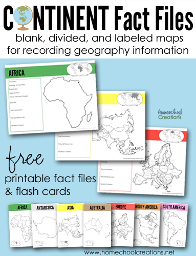 Continent Fact Files And Flash Cards From Homeschool