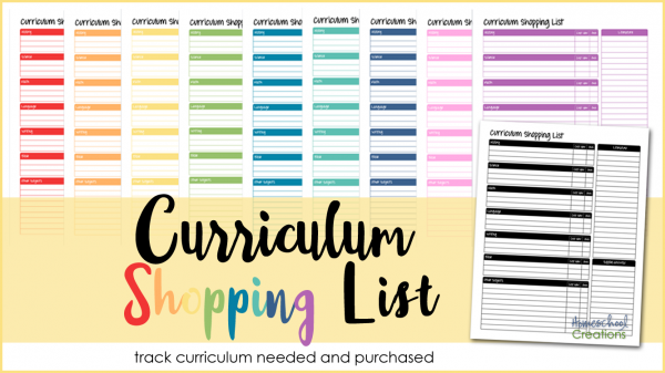 curriculum shopping list a printable to help you track curriculum needed wanted and