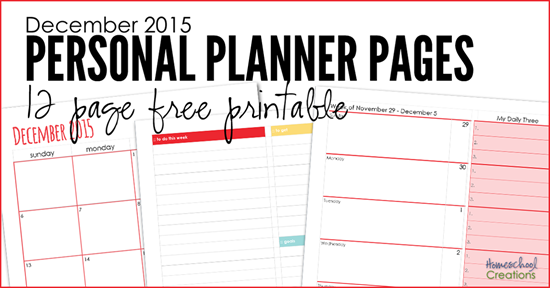 december 2015 personal planning pages 12 pages to organize your month