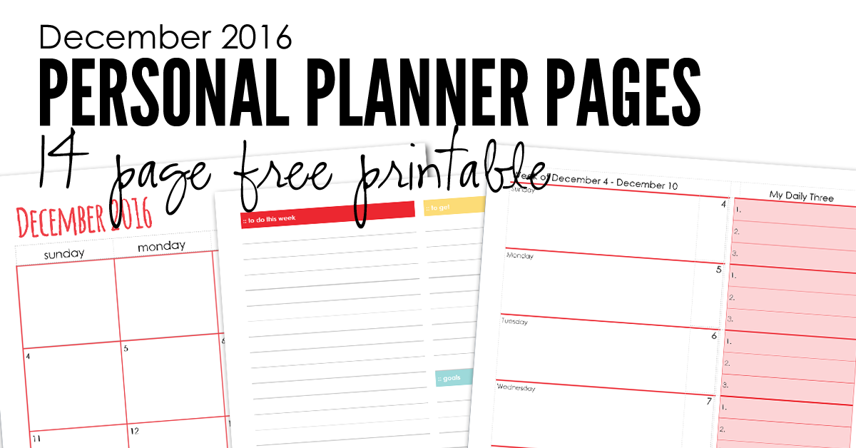 December 2016 Planning Pages Free Printable