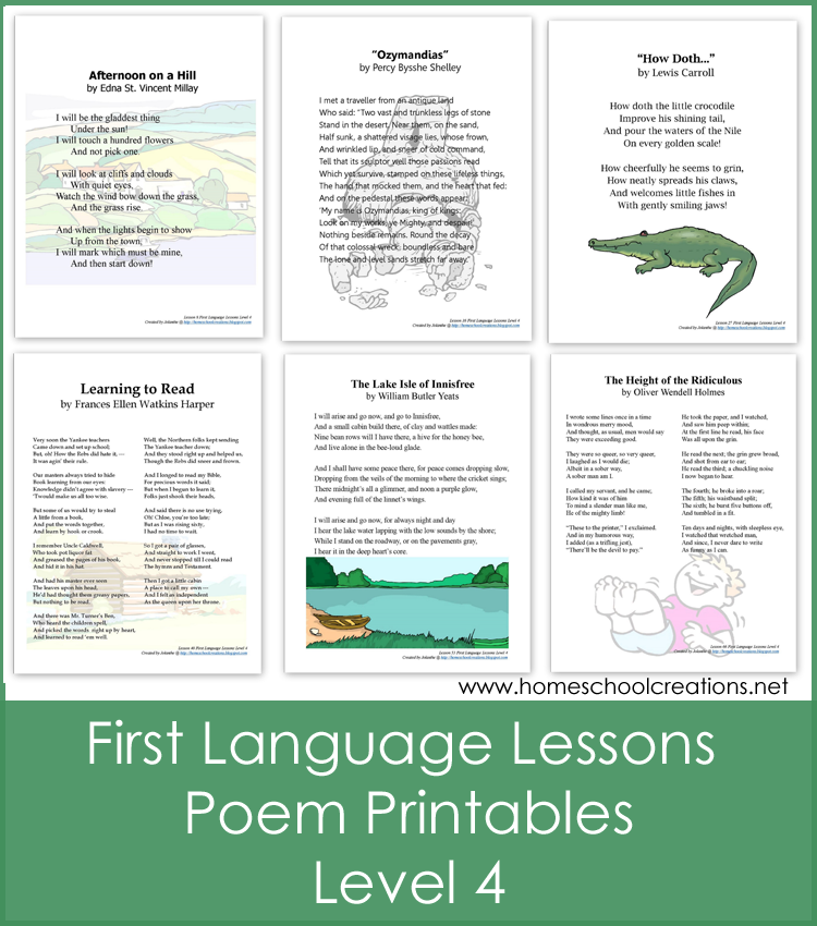 First Language Lessons 4 Poem Printables