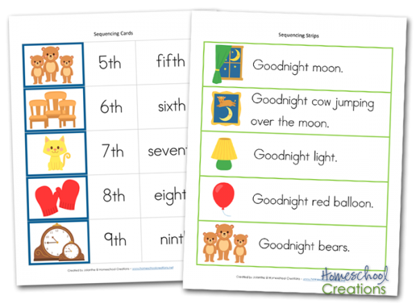 graphic regarding Story Sequencing Cards Printable identified as Goodnight Moon Sequencing Playing cards - Cost-free Printable