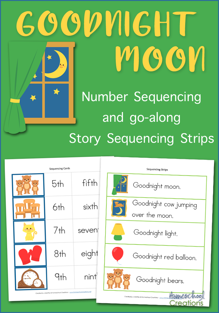 graphic about Free Printable Sequencing Cards identify Goodnight Moon Sequencing Playing cards - Totally free Printable