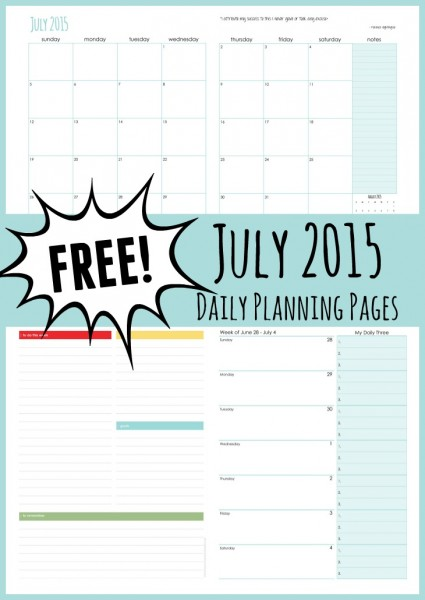 July 2015 daily planning pages free