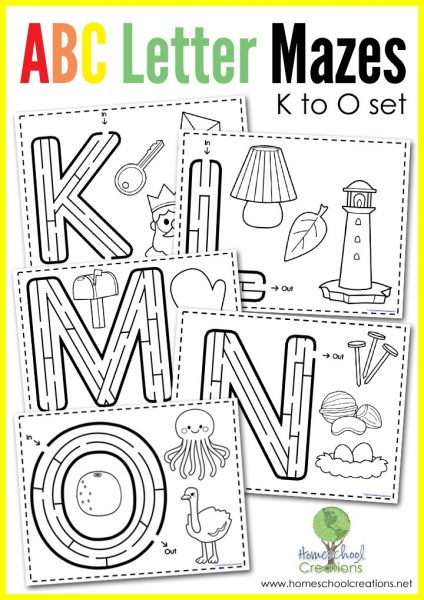 Letter Mazes letters K to O and coloring pages from Homeschool Creations