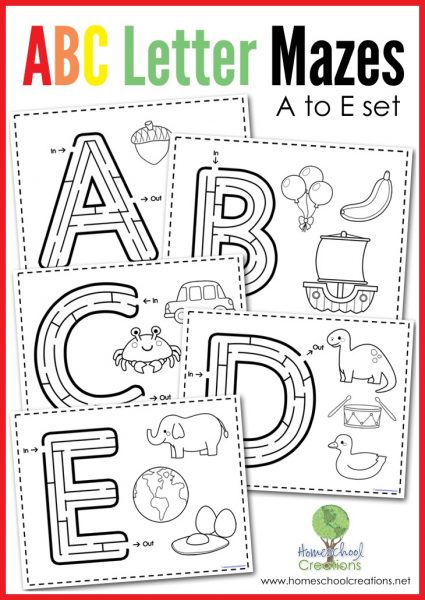 Letter mazes for letters a through e - mazes and coloring images for beginning sound